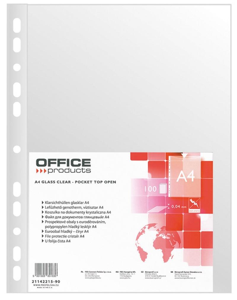 Koszulki na dokumenty OFFICE PRODUCTS, PP, A4, krystal, 40mikr., 100szt., Koszulki i obwoluty, Archiwizacja dokumentów