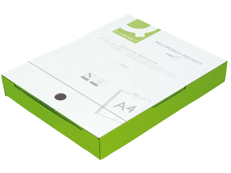 Koszulki na dokumenty Q-CONNECT, PP, A4, krystal, 50mikr., 100szt., w pudełku, Koszulki i obwoluty, Archiwizacja dokumentów