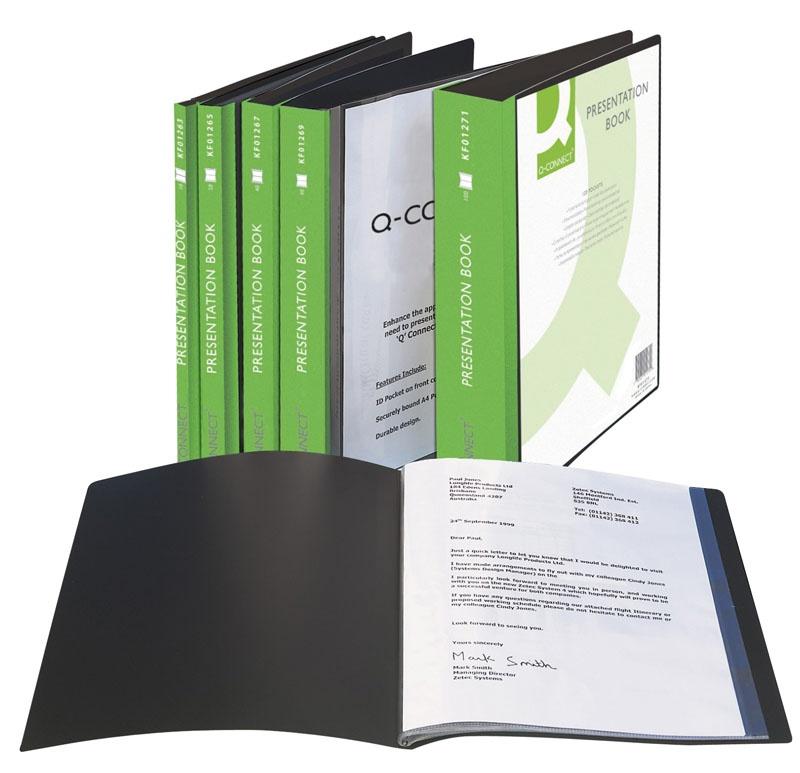 Teczka ofertowa Q-CONNECT z kieszenią opisową, PP, A4, 650mikr., 40 koszulek, czarna, Teczki ofertowe, Archiwizacja dokumentów