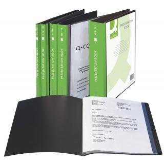 Teczka ofertowa Q-CONNECT z kieszenią opisową, PP, A4, 820mikr., 60 koszulek, czarna, Teczki ofertowe, Archiwizacja dokumentów