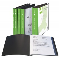 Teczka ofertowa Q-CONNECT z kieszenią opisową, PP, A4, 1100mikr., 100 koszulek, czarna, Teczki ofertowe, Archiwizacja dokumentów