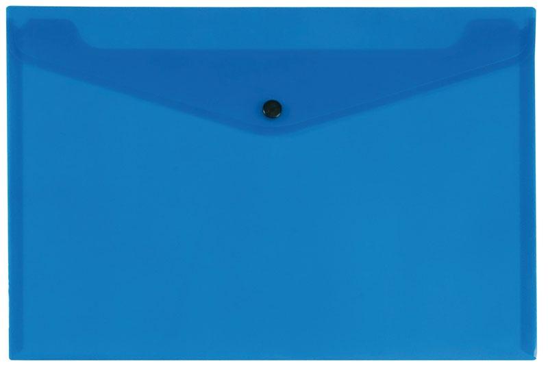Teczka kopertowa Q-CONNECT zatrzask, PP, A4, 172mikr., transparentna niebieska, Teczki płaskie, Archiwizacja dokumentów