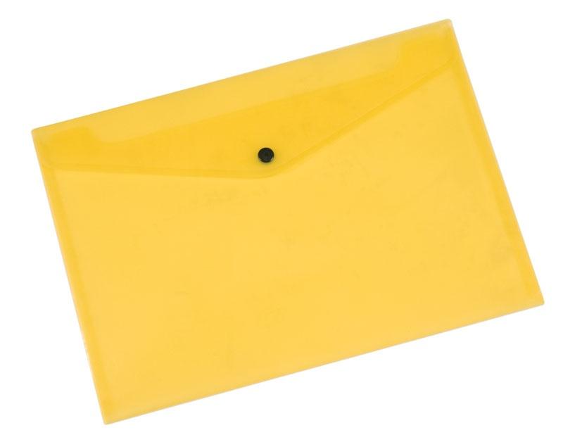 Teczka kopertowa Q-CONNECT zatrzask, PP, A4, 172mikr., transparentna żółta, Teczki płaskie, Archiwizacja dokumentów
