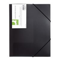 Teczka z gumką PP A4 400mikr. 3-skrz. transparentna czarna, Teczki płaskie, Archiwizacja dokumentów