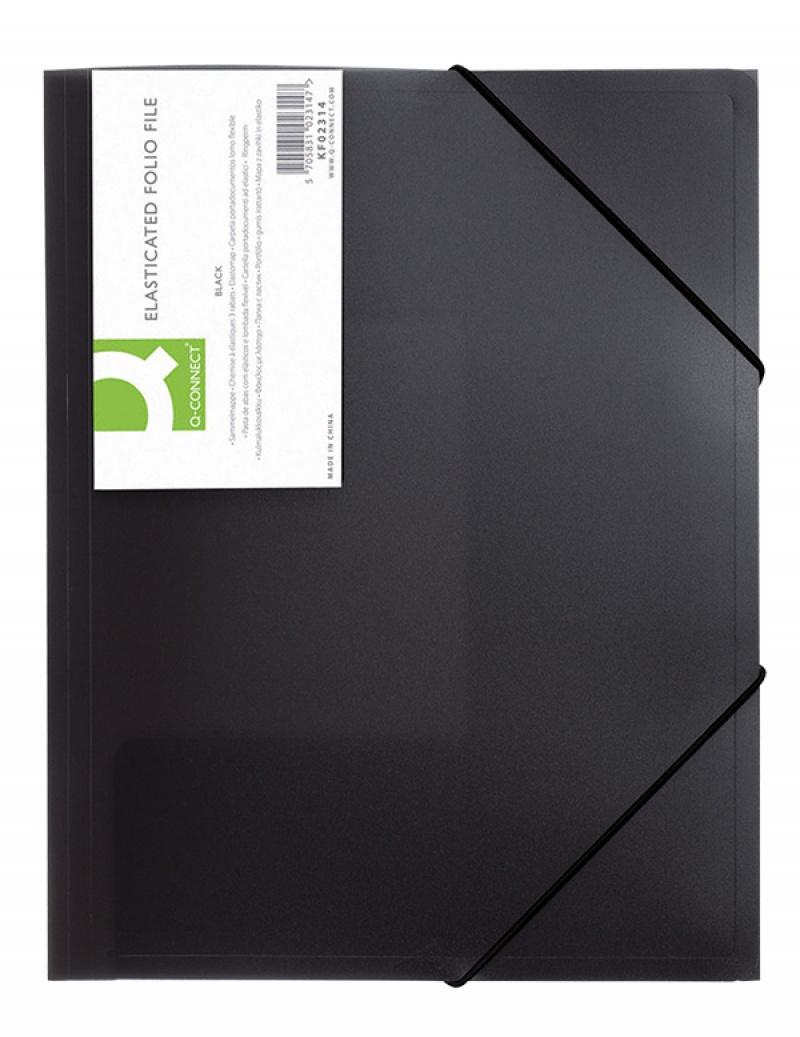 Teczka z gumką Q-CONNECT, PP, A4, 400mikr., 3-skrz., transparentna czarna, Teczki płaskie, Archiwizacja dokumentów