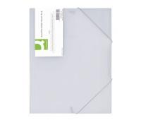 Teczka z gumką Q-CONNECT, PP, A4, 400mikr., 3-skrz., transparentna biała, Teczki płaskie, Archiwizacja dokumentów