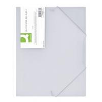 Teczka z gumką PP A4 400mikr. 3-skrz. transparentna biała, Teczki płaskie, Archiwizacja dokumentów