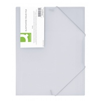 Teczka z gumką Q-CONNECT, PP, A4, 400mikr., 3-skrz., transparentna biała