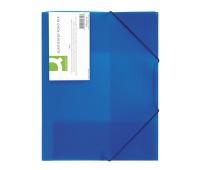 Teczka z gumką Q-CONNECT, PP, A4, 400mikr., 3-skrz., transparentna niebieska, Teczki płaskie, Archiwizacja dokumentów
