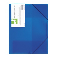 Teczka z gumką PP A4 400mikr. 3-skrz. transparentna niebieska, Teczki płaskie, Archiwizacja dokumentów