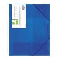 Teczka z gumką Q-CONNECT, PP, A4, 400mikr., 3-skrz., transparentna niebieska