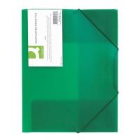 Teczka z gumką Q-CONNECT, PP, A4, 400mikr., 3-skrz., transparentna zielona, Teczki płaskie, Archiwizacja dokumentów