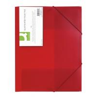 Teczka z gumką PP A4 400mikr. 3-skrz. transparentna czerwona, Teczki płaskie, Archiwizacja dokumentów