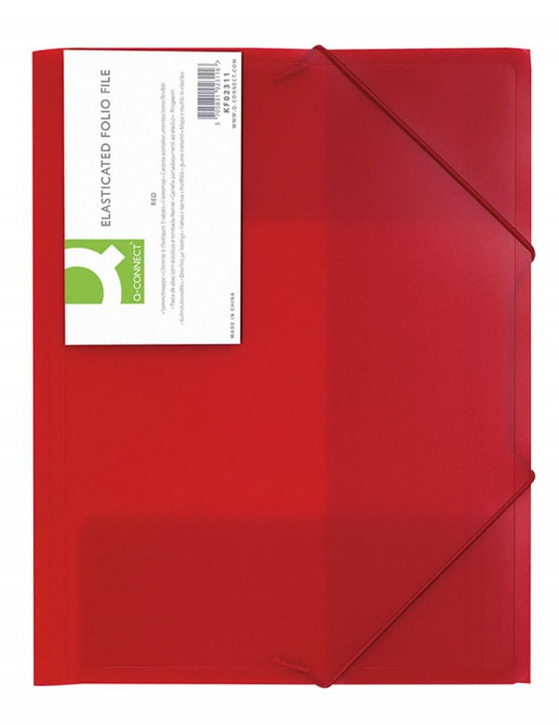Teczka z gumką Q-CONNECT, PP, A4, 400mikr., 3-skrz., transparentna czerwona, Teczki płaskie, Archiwizacja dokumentów