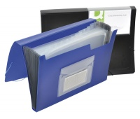 Expanding File Folder with elastic band closure Q-CONNECT, PP, A4, 12 compartments, blue