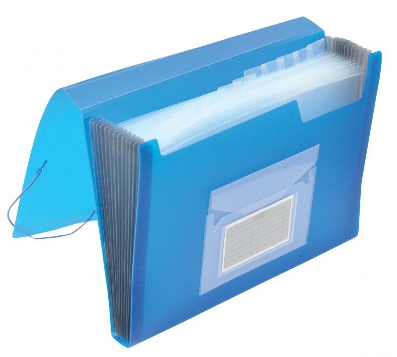 Teczka harm. z gumką Q-CONNECT, PP, A4, 12-przegr., transparentna niebieska, Teczki przestrzenne, Archiwizacja dokumentów