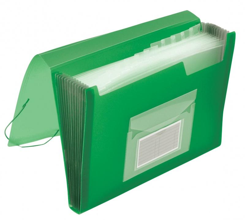 Teczka harm. z gumką Q-CONNECT, PP, A4, 12-przegr., transparentna zielona, Teczki przestrzenne, Archiwizacja dokumentów
