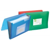 Expanding File Folder with elastic band closure Q-CONNECT, PP, A4, 12 compartments, transparent green