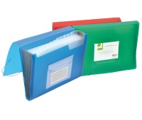 Expanding File Folder with elastic band closure Q-CONNECT, PP, A4, 12 compartments, transparent red