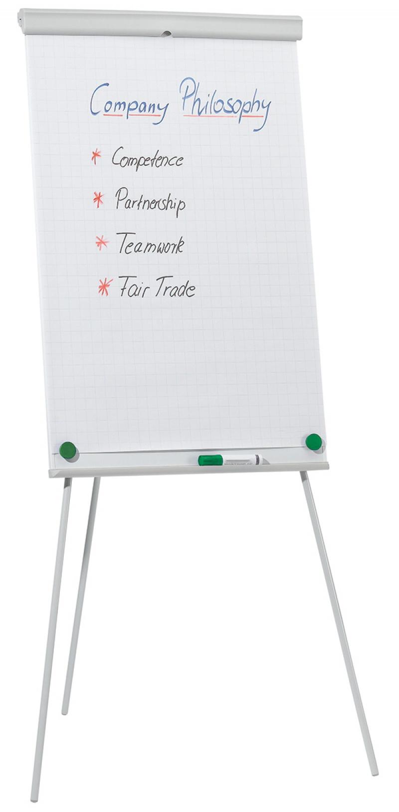 Flipchart na trójnogu Q-CONNECT, 68x105cm, tablica suchoś. -magn., Flipcharty, Prezentacja