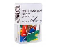 SZPILKI CHORĄGIEWKI KOLOROWE 34MM /20/, Szpilki, Drobne akcesoria biurowe