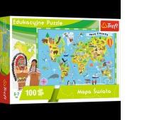 15502 100 Edukacyjne - Mapa Świata dla dzieci / Trefl, Puzzle, Zabawki