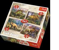 34249 4w1 - Dinozaury / Trefl, Puzzle, Zabawki