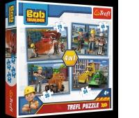 34270 4w1 - Pracowity dzień / Bob Budowniczy, Puzzle, Zabawki