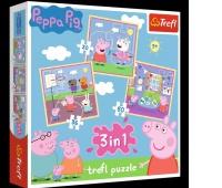 34813 3w1 - Zabawy w szkole / Peppa Pig, Puzzle, Zabawki