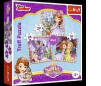 34814 3w1 - Zosia i jej przyjaciele / Disney Sofia the First, Puzzle, Zabawki