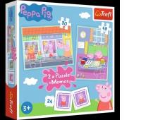 90600 Puzzle 2w1 + memos - Dzień Peppy / Peppa Pig, Puzzle, Zabawki