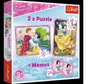 90603 Puzzle 2w1 + memos - Zakochana Śnieżka / Disney Princess / Snow White, Puzzle, Zabawki