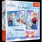 90617 Puzzle 2w1 + memos - Siostry / Disney Frozen, Puzzle, Zabawki