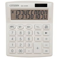 Kalkulator biurowy CITIZEN SDC-810NRWHE, 10-cyfrowy, 127x105mm, biały, Kalkulatory, Urządzenia i maszyny biurowe