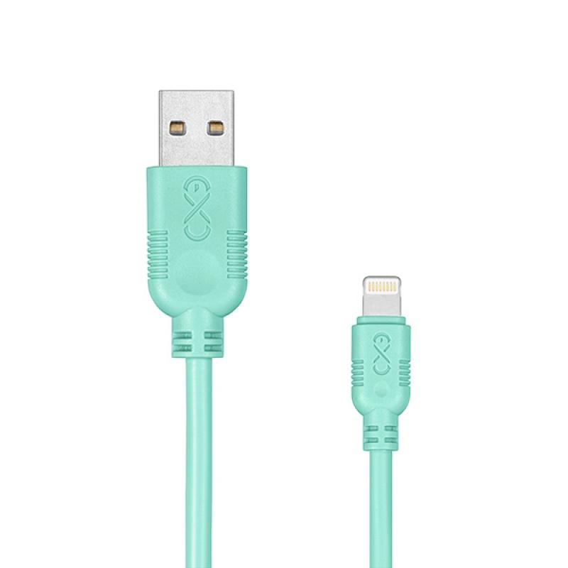 Kabel kompatybilny z lightning EXC Whippy, 2m, miętowy, Złącza i adaptery, Akcesoria komputerowe