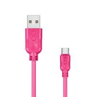 Uniwersalny kabel USB 2.0 do USB-C EXC Whippy, 0,9m, różowy, Złącza i adaptery, Akcesoria komputerowe
