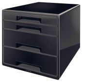 Pojemnik z 4 szufladami Leitz, Czarny, Szufladki - zestawy, Archiwizacja dokumentów
