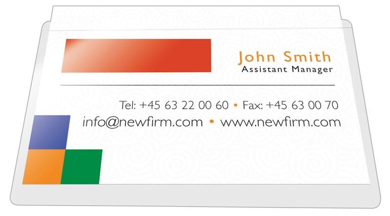 Kieszeń samoprzylepna Q-CONNECT, na wizytówki, rozc. na dł. boku, 56x93mm, 100szt., Kieszonki samoprzylepne, Drobne akcesoria biurowe
