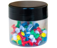 Thumbtacks (Drawing Pins) Q-CONNECT, extended handle head, in a glass jar, 60pcs, assorted colours