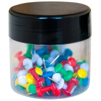 Thumbtacks (Drawing Pins) extended handle head in a glass jar 60pcs assorted colours