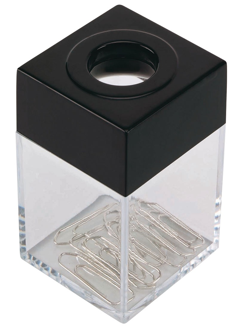 Pojemnik magn. na spinacze Q-CONNECT, mały, transparentny czarny, Przyborniki na biurko, Drobne akcesoria biurowe