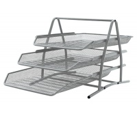 Desktop Letter Tray Set Q-CONNECT, metal, 3 trays, silver
