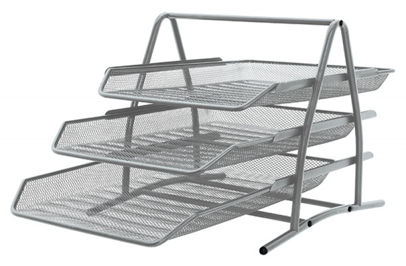 Zestaw na biurko Q-CONNECT Office Set, metalowy, 3 szufladki, srebrny, Szufladki - zestawy, Drobne akcesoria biurowe