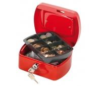 Kasetka na pieniądze Q-CONNECT, mała, 155x75x120mm, czerwona, Kasetki na pieniądze, Wyposażenie biura