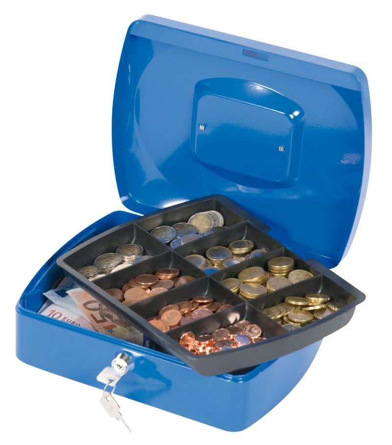 Kasetka na pieniądze Q-CONNECT, duża, 255x85x200mm, niebieska, Kasetki na pieniądze, Wyposażenie biura