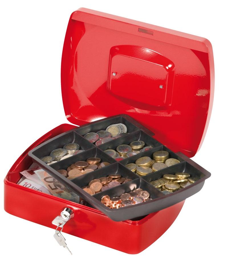 Kasetka na pieniądze Q-CONNECT, duża, 255x85x200mm, czerwona, Kasetki na pieniądze, Wyposażenie biura