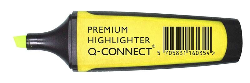 Zakreślacz fluor. Q-CONNECT Premium, 2-5mm (linia), gumowana rękojeść, żółty, Textmarkery, Artykuły do pisania i korygowania