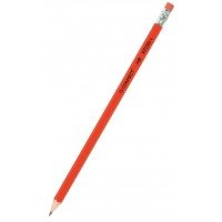 Wooden Pencil with eraser Q-CONNECT HB, lacquered, red
