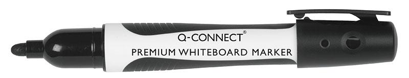 Marker do tablic Q-CONNECT Premium, gum. rękojeść, okrągły, 2-3mm (linia), czarny, Markery, Artykuły do pisania i korygowania