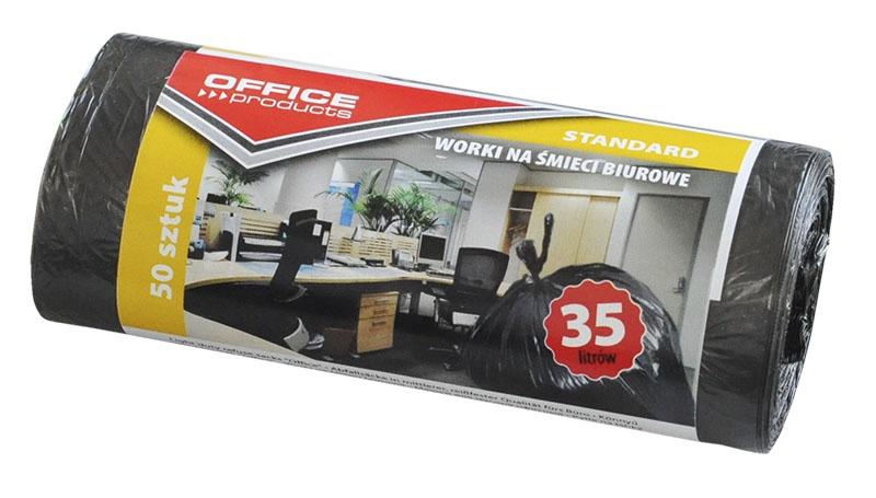 Worki na śmieci biurowe OFFICE PRODUCTS, standard (HDPE), 35l, 50szt., czarne, Worki, Artykuły higieniczne i dozowniki